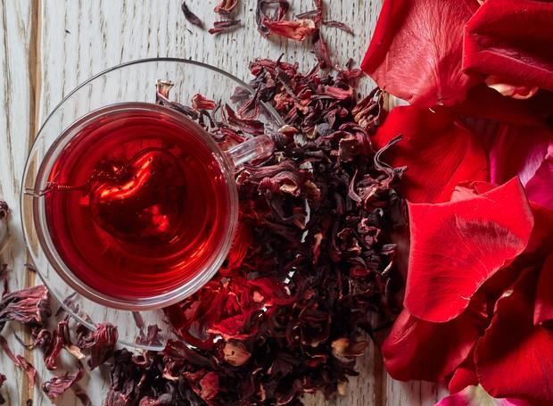Chá da planta hibisco
