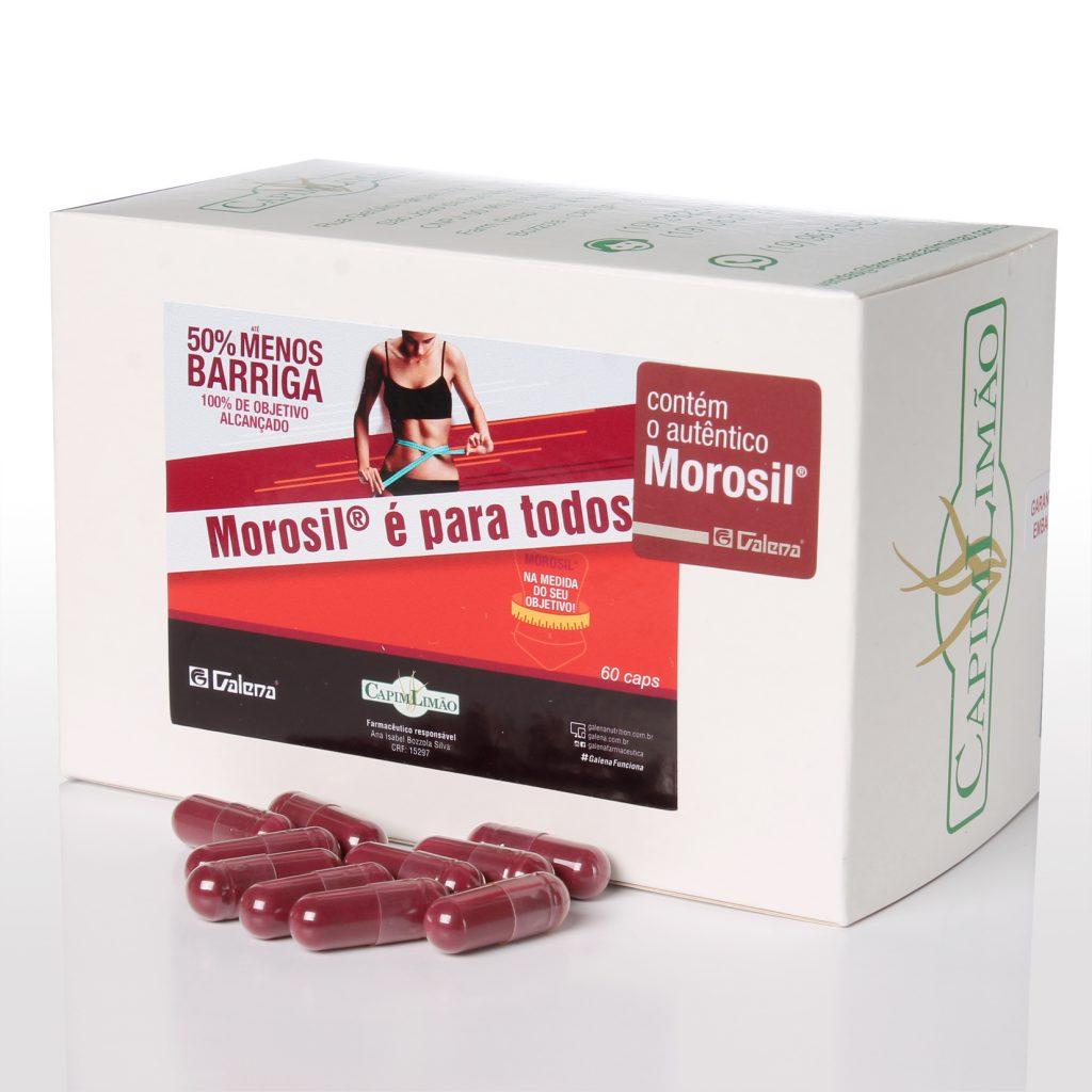 Caixa e cápsulas do remédio Morosil