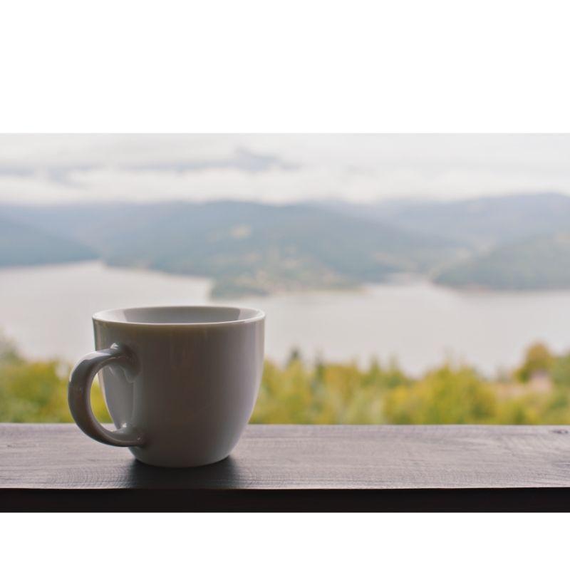Xícara de chá sobre uma mureta com uma linda paisagem ao fundo.