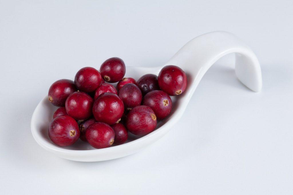 Cranberry em uma colher indiana branca, com um fundo também branco.