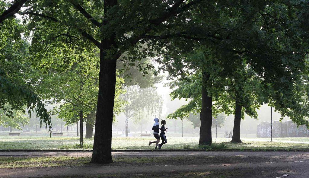 Pessoas correndo em um parque.